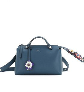 Low Price Fendi By The Way Small Blue Leather Flower Detail Satchel Bag Elegant Style Lady