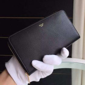 Hot Selling Celine Black Long Goatskin Leather Yellow Gold Zipper Fake Multifunction Wallet For Womens