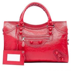 Women's Balenciaga Giant Brogues Hand Stitched Handles Leather Wrapped Studs Coquelicot Lambskin Brogues Tote Bag