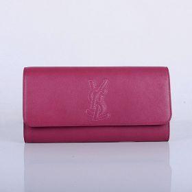 Latest Yves Saint Laurent Lady YSL Logo Design Flap Lambskin Leather Purse Rose For Sale