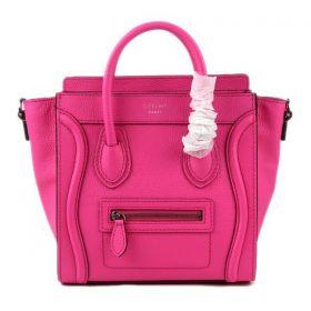 Celine Spring Small Luggage Silver Hardware Black Leather Edging Neon Pink Drummed Leather Shoulder Bag Girls