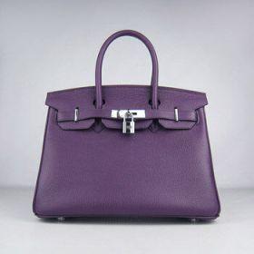 Wholesale Hermes Birkin Imitation 30cm Purple Togo Leather Gorgeous Handbag Silver Lock Sexy Lady