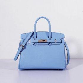 Hermes Birkin Copy Light Blue Epsom Leather Bag 30cm With Strap Golden Buckle Price US
