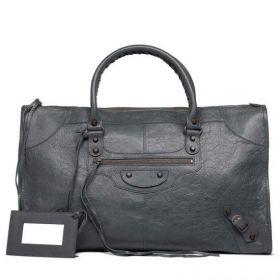 Classic Balenciaga Ladies Work Top-handles Buckle & Belt Trimming Old Brass Studs Shoulder Bag Gris Tarmac
