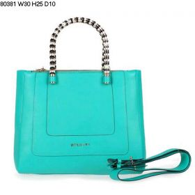 Bvlgari Low Price Serpenti Light Green Ferrari Leather Hand Carry Bag With Two Zipper Compartments