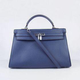 Hermes Kelly Women's Dark Blue Togo Leather 35cm Handbag Silver Lock And Key Price 2018