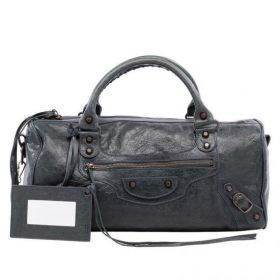 Balenciaga Womens Twiggy Old Zipper Front Pocket Buckle Trimming Anthracite Studded Crossbody Bag Replica