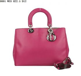 Christian Dior Diorissimo Small Cross-Body Nappa-Texture Leather Gorgeous Peach Tote Bag With A Pouch
