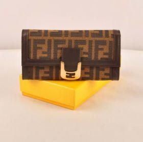 Fendi Chameleon Coffee F Fabric Long Wallet Flap Closure Modern Style Sale Canada