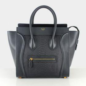 2018 Celine Large Luggage Brass Zipper Front Pocket Womens Black Snake & Smooth Leather Handbag Online