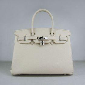Hermes Birkin Imitation Beige Togo Leather Handbag 30cm Silver Buckle Valentine Gift For Lady