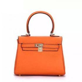 Hermes Kelly 25cm Orange Togo Leather Bag Golden Lock With Key Celebrity Style LA Women