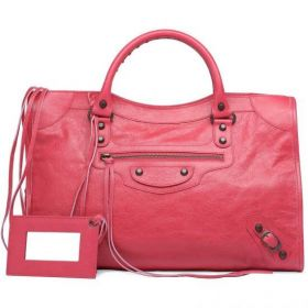 Deep Pink Balenciaga Classic City Sheepskin Leather Small Nail Motocycle Bags Good Price Online Sale