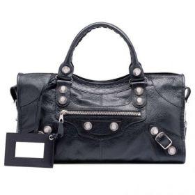 Vintage Black Balenciaga Giant 21 Part Time Leather Framed Mirror Silver Zipper Top Ladies Studded Handbag