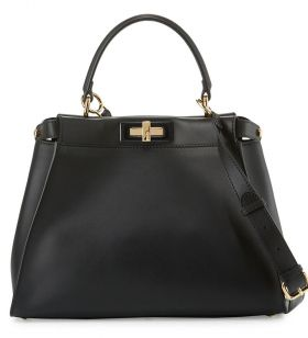 Fendi Peekaboo Black Medium Satchel Bag Rose Gold-plated Turn Lock Top Handle Street Style