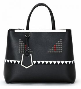 Fendi 2Jours Monster Black Medium Studded Beaded Saffiano Bag Shopper White Tooth Ripple Pattern Cool