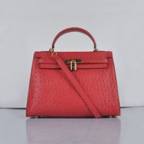 Hermes Kelly 32cm Red Ostrich Vein Leather Fake Bag Golden Buckle Alessandra Ambrosio Price US