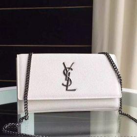 Fashion Saint Laurent Kate White Leather Brushed Silver Chain Medium Clone Monogram Bag For Girls 364021BOW0N1950