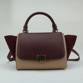 Women's Celine Hot Selling Small Trapeze Extra-wide Suede Sides Golden Lock Dark Red & Khaki Leather Tote 22CM