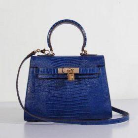 Hermes Kelly Fake 25cm Electric Blue Lizard Leather Bag Golden Buckle Shoulder Belt Price 2018
