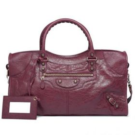 Balenciaga Motocross Giant 12 Part Time Front Zip Pocket Rose Gold Hardware Womens Cassis Lambskin Tote Bag
