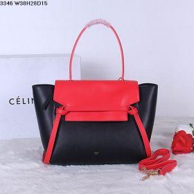 Spring Fashion Celine Rose & Black Natural Calfskin Top Handle Flap Belt Patchwork Shoulder Bag 38CM