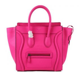 Women's Celine Large Luggage Black Edge High End Suede Lining Neon Pink Leather Tote Bag