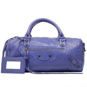 Fashion Style Balenciaga Female Twiggy Bleu Lavande Hand Stitched Handles Vintage Brass Zipper Top Shoulder Bag