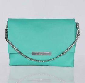 Celine Blade Silver Flap Closure Bar Central Zipper Compartment Green Original Leather Chain Shoulder Bag