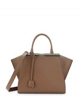 Fendi Imitation Trois-Jour Petite Green/Brown Leather Tote Bag Street Fashion Best Review Lady