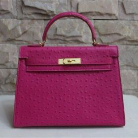 Hermes Kelly Fake 32cm Rose Ostrich Vein Leather Handbag Golden Buckle Colorful Party Online NYC