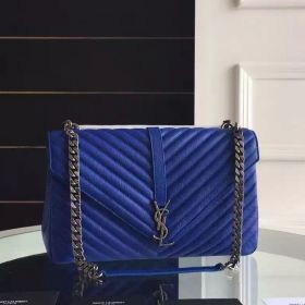 Large YSL Brushed Silver-toned Chain Strap Classic Monogram Blue Leather Y-Shaped Flap Cover College Bag