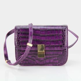 Fashion/Luxury Celine Classic Box  Yellow Brass Hardware Crocodile Leather Flap Bag Purple For Womens