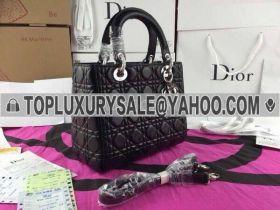 Vogue  Christian Dior Lady Dior Black Cannage-Pattern Shoulder Strap Tote Bag  Top Sale California