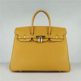 Hermes Birkin 35cm Yellow Togo Leather Handbag Golden Lock Buckle Elegant Women Online Italy Fake