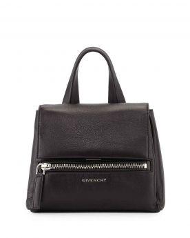 Women's Classic Givenchy Pandora Pure Flat Top Handle Zipper Front Pocket Black Leather Mini Satchel Bag