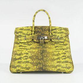 Hermes Birkin Yellow Lizard Pattern Handbag Silver Lock Buckle 30CM Kim Kardashian Style America