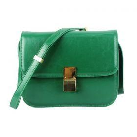 Latest Celine Classic Box Brass Hardware Slim Shoulder Strap Clasp Closure Green Calfskin Flap Bag