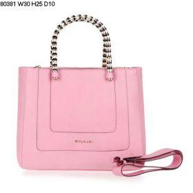 Sweet Bvlgari Serpent Two Gussets Light Pink Leather Metal Snake Veins Handles Ladies Crossbody Bag
