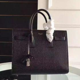 Saint Laurent Small Sac De Jour Black Lizard Embossed Leather Top Handle Shoulder Bag 32CM
