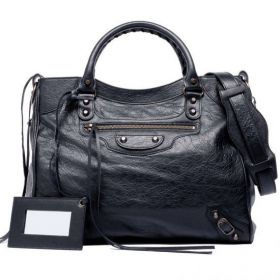 Fall Fashionable Balenciaga Black Leather Classic Velo Curved Top Aged Studs Tote Bag For Womens