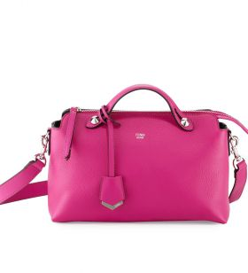 Fendi By The Way Magenta Leather Small Satchel Bag Top Handle Formal Dinner For Lady