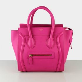Celine AAA Quality Luggage Rounded Top Handles Leather Trimming Ladies Rose Smooth Leather Tote Bag Medium