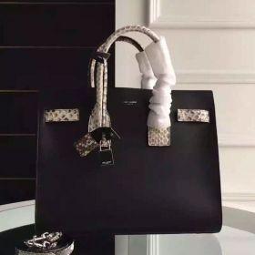 Popular Saint Laurent Sac De Jour Python-Trimmed Pleated Gussets Detail Ladies Black Tote Bag Small