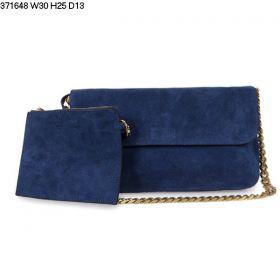 Celine High-end Suede Leather Gourmette Womens Yellow Gold Chain Motif Sapphire Blue Flap Shoulder Bag