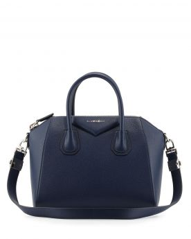 Good Reviews Givenchy Antigona Zipper Closure Rounded Handles Female Dark Blue Goatskin Satchel Bag Small