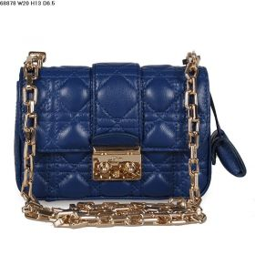 Replica Christian Dior Miss Dior Lambskin-Quality Leather Metal-Belt Shoulder Bag Cannage-texture  Royal-blue Color