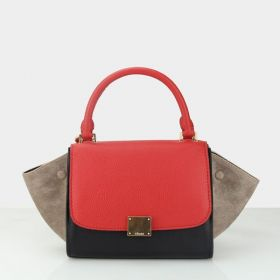 Womens Latest Celine Small Trapeze Red Top-handle & Flap Polished Brass Square Lock Ladies Suede Tote Khaki/Black