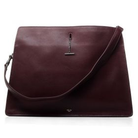 High Quality Celine Original Leather Large Wine Red Top-handle Suede Leather Lining Shopping Bag