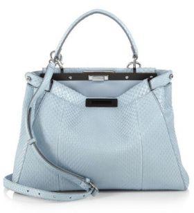 Fendi Peekaboo Light Blue Python Leather Satchel Bag Rotatable Buckle Shopping Style For Lady
